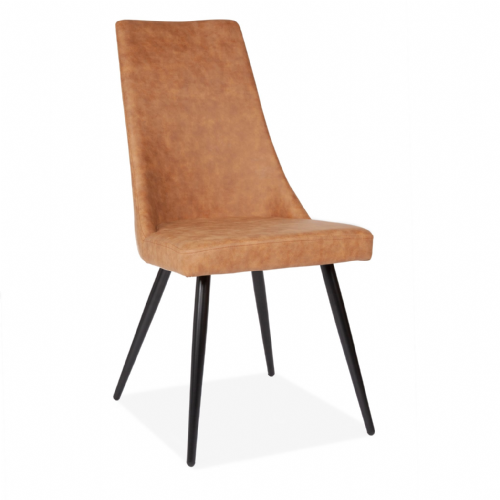 x2 Brown High Back Dining Chair with Black Legs